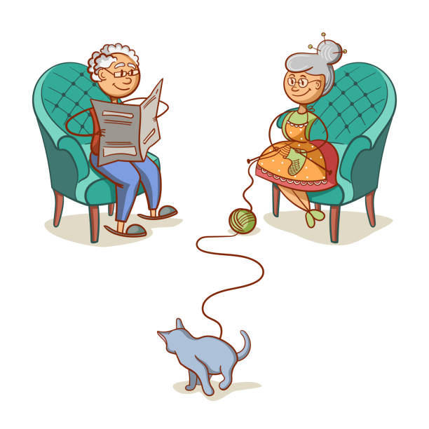 grandfather_grandmother_and_cat - old man sitting chair drawing stock illustrations, clip art, cartoons, & icons