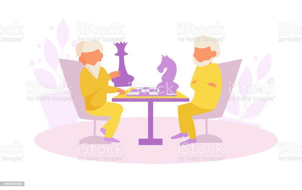 Grandfathers playing chess Vector. Cartoon royalty-free grandfathers playing chess vector cartoon stock vector art & more images of adult