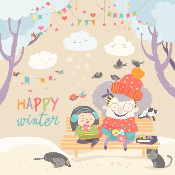 bildbanksillustrationer, clip art samt tecknat material och ikoner med mormor och barnbarn äta donuts i vinterparken - aktiva pensionärer utflykt