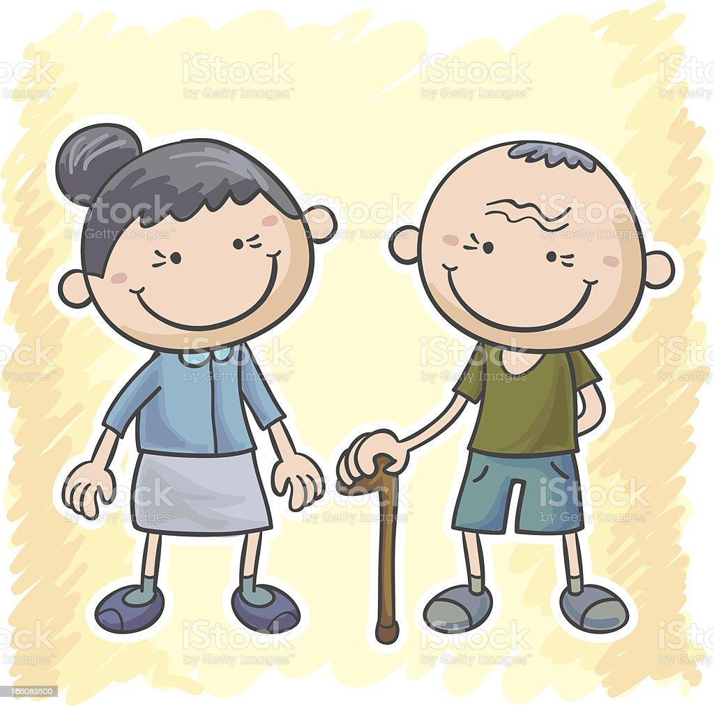 Grandma and grandpa cartoon illustration royalty-free stock vector art