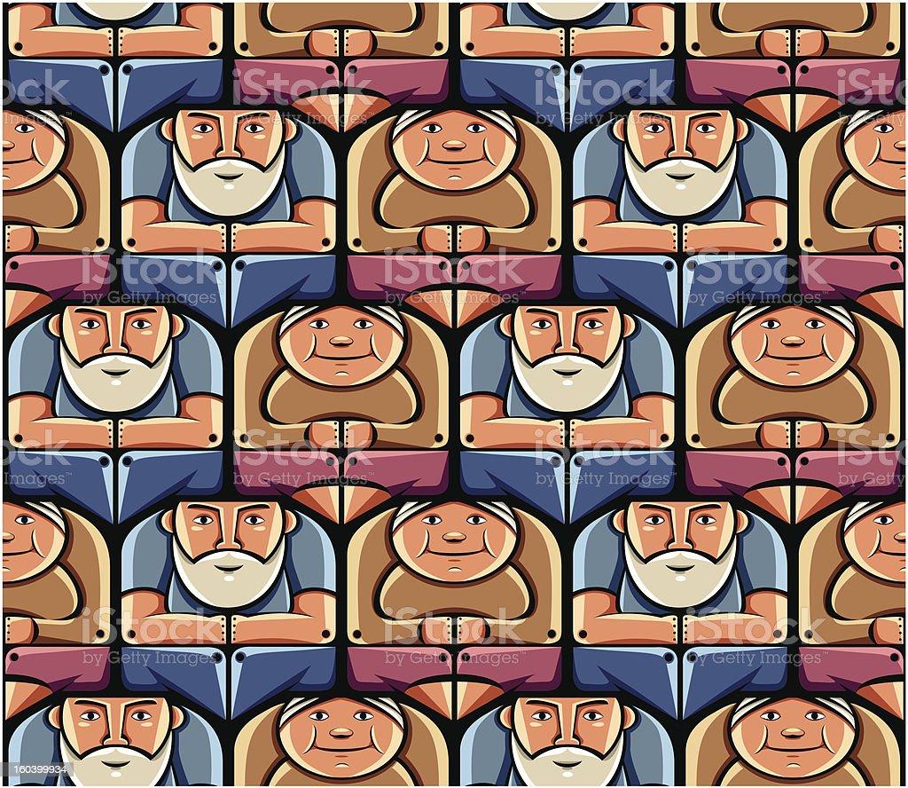 Grandma and grandpa seamless pattern. royalty-free stock vector art