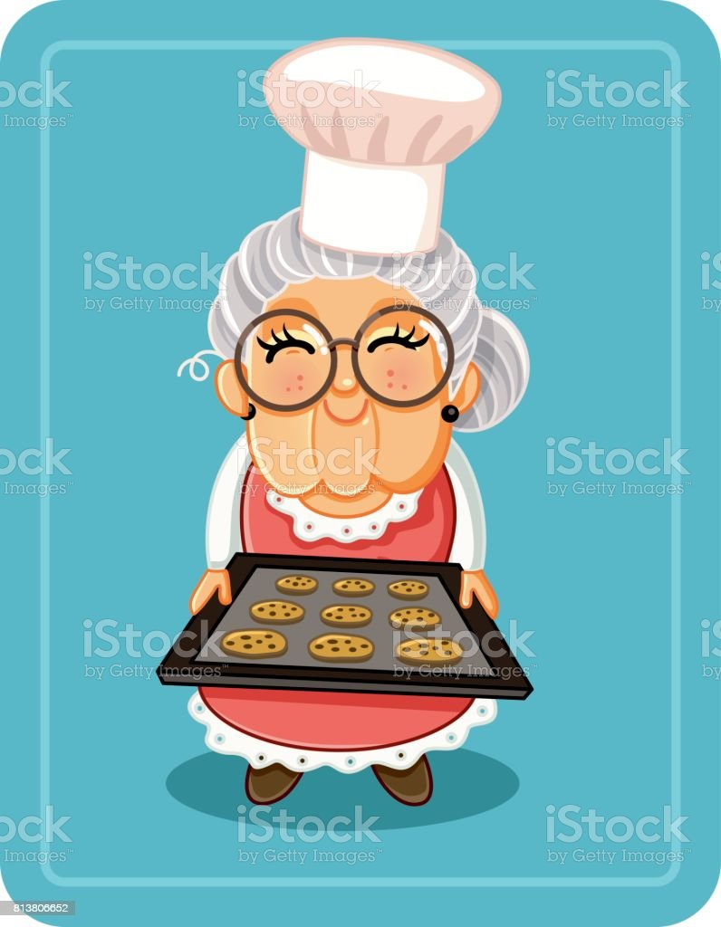 Grandma Baking Chocolate Chips Cookies Vector Illustration vector art illustration