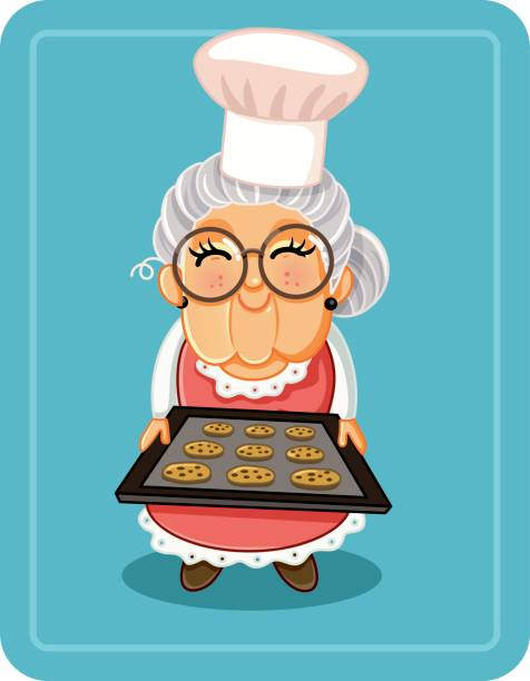 Grandma Baking Chocolate Chips Cookies Vector Illustration Vector illustration a cute granny with a tray of sweets cooking clipart stock illustrations