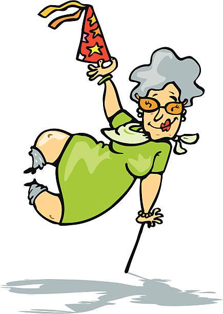 Grandma celebrando su cumpleaños - ilustración de arte vectorial