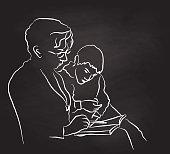 Grandma Helping Grandson Read
