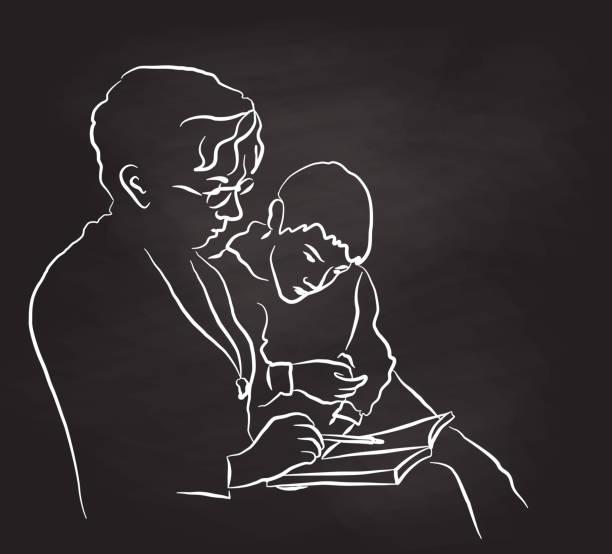 ilustraciones, imágenes clip art, dibujos animados e iconos de stock de nieto de la abuela ayuda a leer - nieto