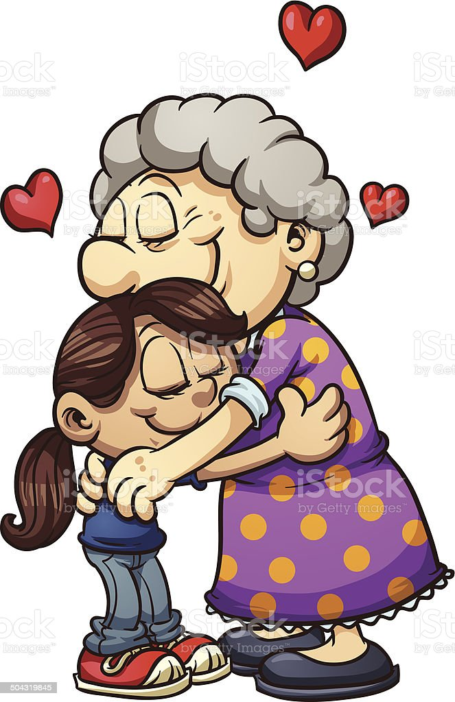 Grandma hug vector art illustration