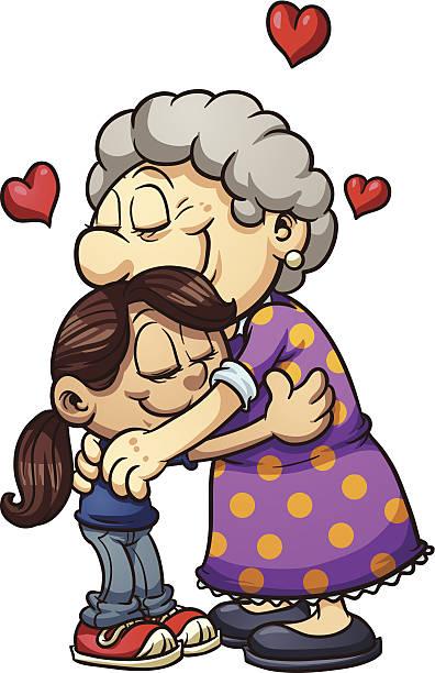 ilustraciones, imágenes clip art, dibujos animados e iconos de stock de grandma hug - nieta