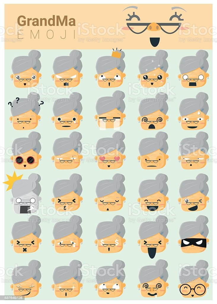 Grandma imoji icons vector art illustration