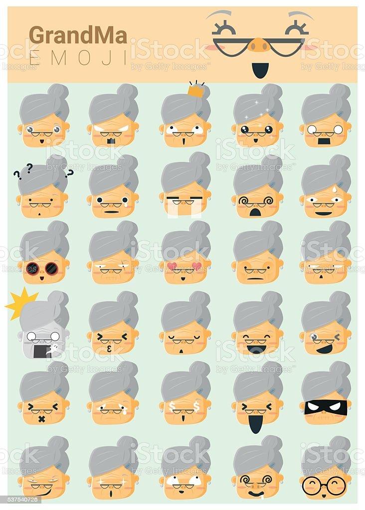 La abuela imoji iconos - ilustración de arte vectorial