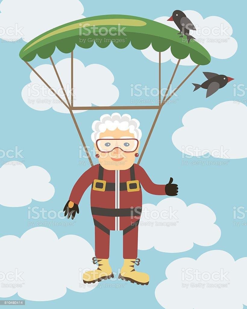 Ilustración de Abuela Saltando Con Paracaídas y más banco de ...