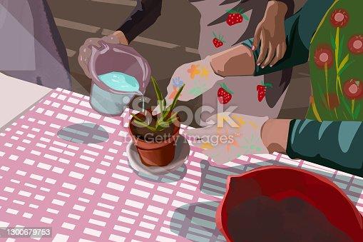 istock Grandma planting houseplants with her granddaughter 1300679753