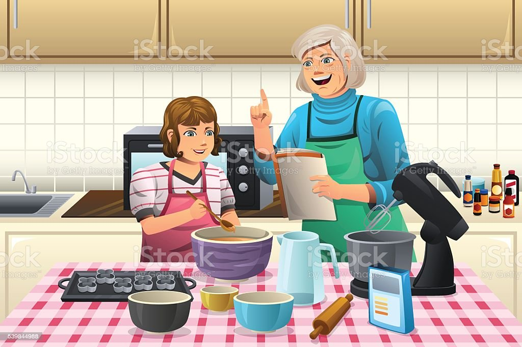 Grandma Preparing Cookies vector art illustration