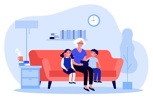 Grandma reading fairytale to kids