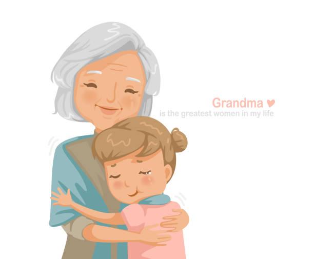 ilustraciones, imágenes clip art, dibujos animados e iconos de stock de abuela - nieta