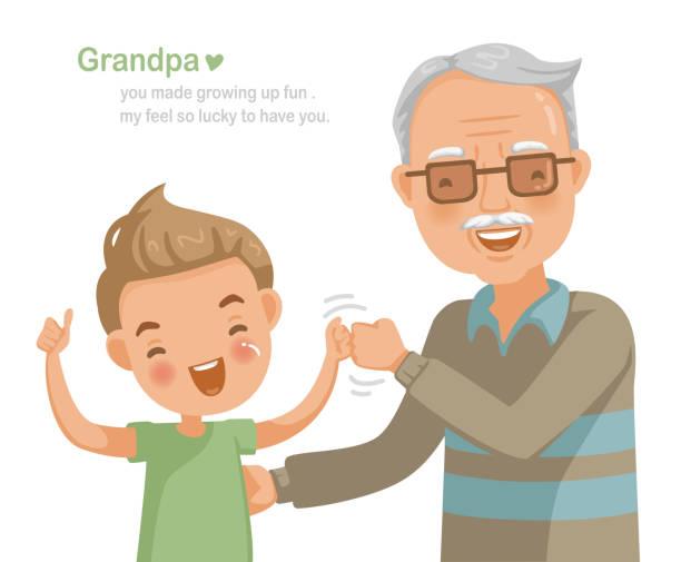 ilustraciones, imágenes clip art, dibujos animados e iconos de stock de abuela - nieto