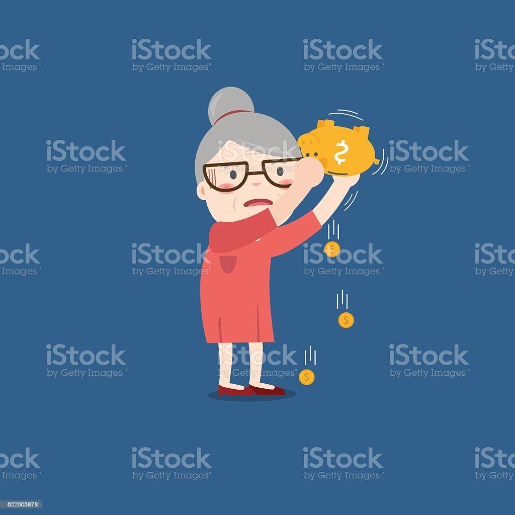 grandma with golden piggy bank, Pension vector art illustration
