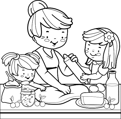 Grandmother And Children Cooking In The Kitchen Coloring Book Page Stock Illustration - Download Image Now