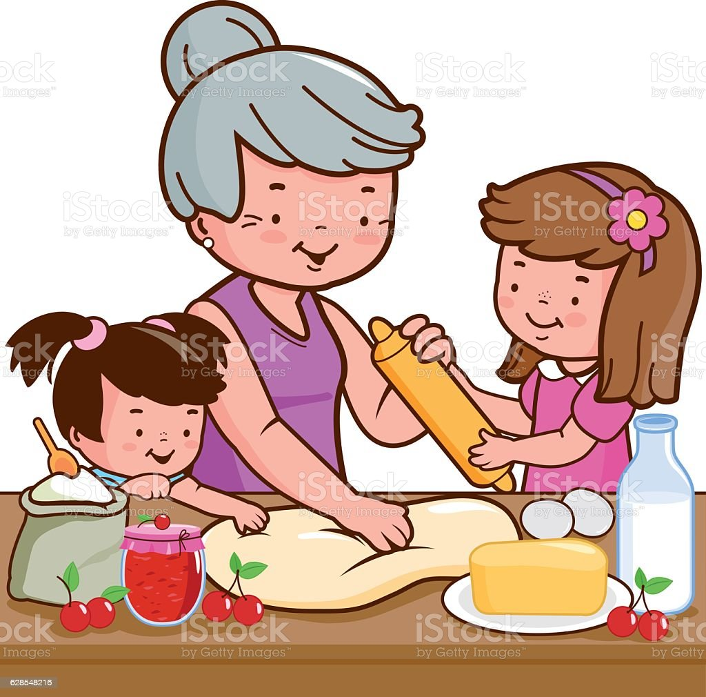 Grandmother and children cooking in the kitchen vector art illustration