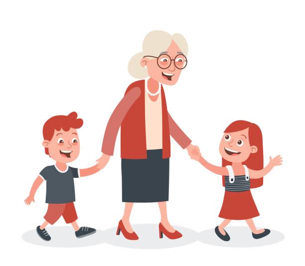 illustrazioni stock, clip art, cartoni animati e icone di tendenza di grandmother and grandchildren walking - nonna e nipote camminare