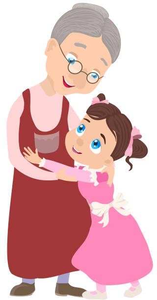 ilustraciones, imágenes clip art, dibujos animados e iconos de stock de abuela y nieta junta. ilustración de vector - nieta
