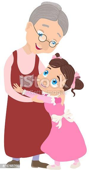 Ilustración de Abuela Y Nieta Junta Ilustración De Vector ...