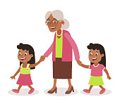 Grandmother with her grandchildren walking, she takes them by the hand.Two girls, tweens. Cartoon style, isolated on white background. Vector illustration.