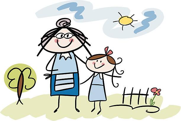 ilustraciones, imágenes clip art, dibujos animados e iconos de stock de abuela y nieta - nieta