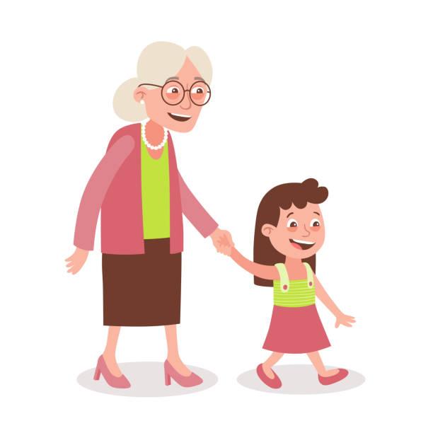 illustrazioni stock, clip art, cartoni animati e icone di tendenza di grandmother and granddaughter walking - nonna e nipote camminare