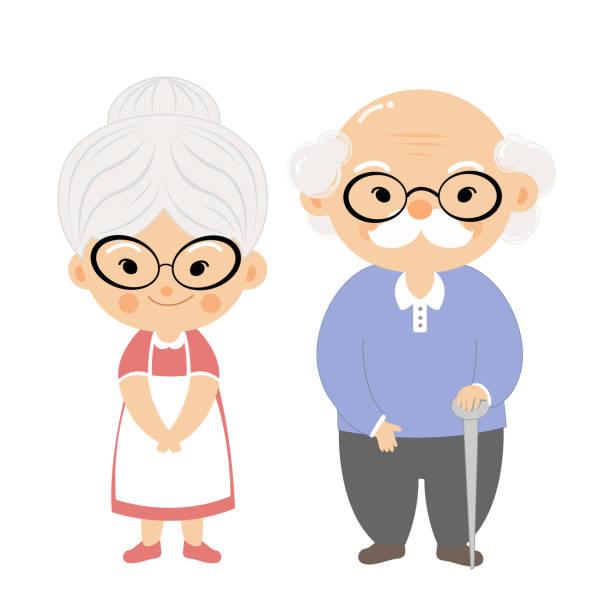 ilustraciones, imágenes clip art, dibujos animados e iconos de stock de abuela y el abuelo - abuelo