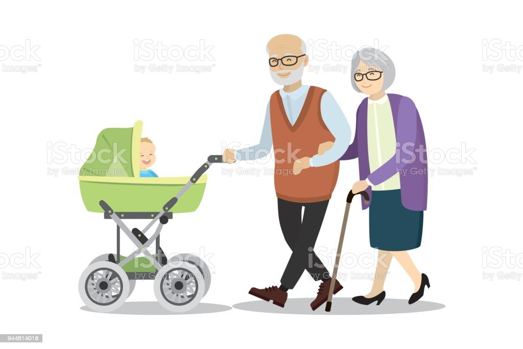Abuela y abuelo con un cochecito de niño y bebé - ilustración de arte vectorial