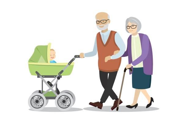 illustrazioni stock, clip art, cartoni animati e icone di tendenza di grandmother and grandfather with a pram and baby - nonna e nipote camminare