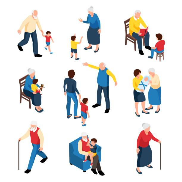 ilustraciones, imágenes clip art, dibujos animados e iconos de stock de abuela y abuelo con nietos - abuelo