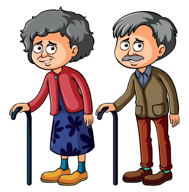 grandmother and grandfather with walkingstick - old man smiling silhouettes stock illustrations, clip art, cartoons, & icons