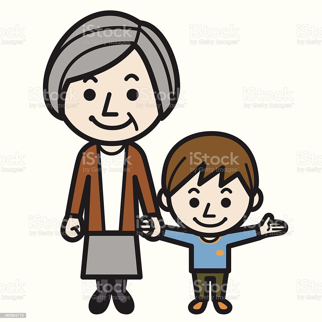 Grandmother and grandson royalty-free stock vector art