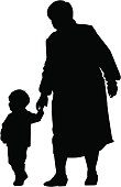 grandmother and grandson silhouette
