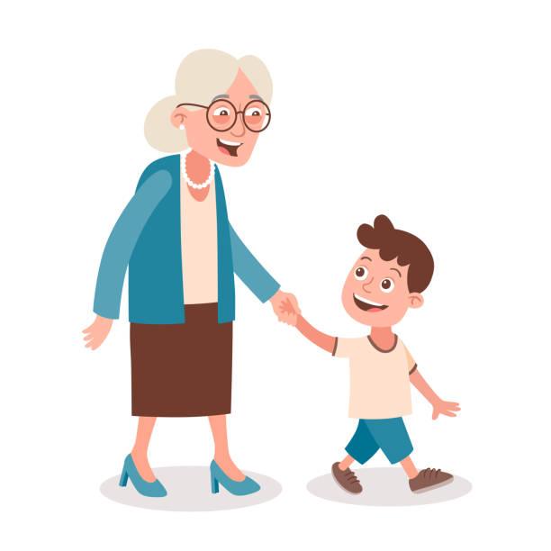 ilustraciones, imágenes clip art, dibujos animados e iconos de stock de abuela y nieto a - nieto