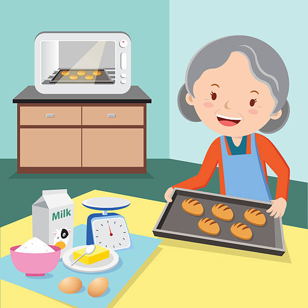 Grandmother baking buns Cheerful senior woman baking buns. female sandwich stock illustrations