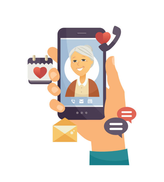 grandmother calling - modern vector cartoon character illustration - babka dziadek i babcia stock illustrations