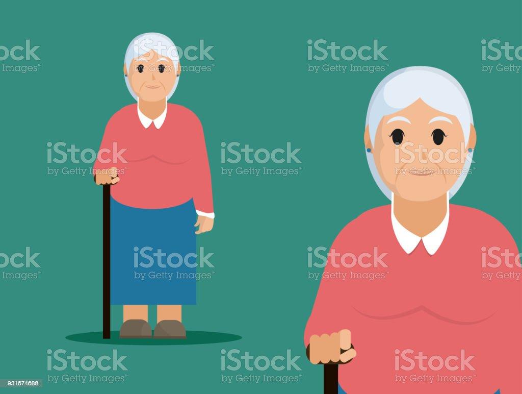 Grandmother cute cartoon vector art illustration