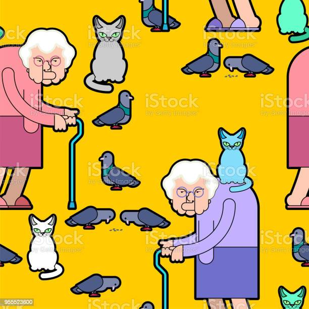 Grandmother feeds pigeons pattern grandma and cat background good old vector id955523600?b=1&k=6&m=955523600&s=612x612&h=u4ypvj5alabp1ckiuzod5lfk vi4igirmhdxsihwlbc=