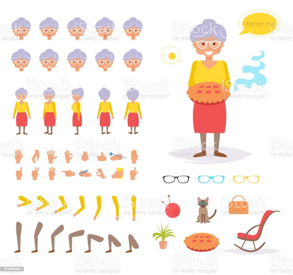 Abuela para la animación. Plantea - ilustración de arte vectorial