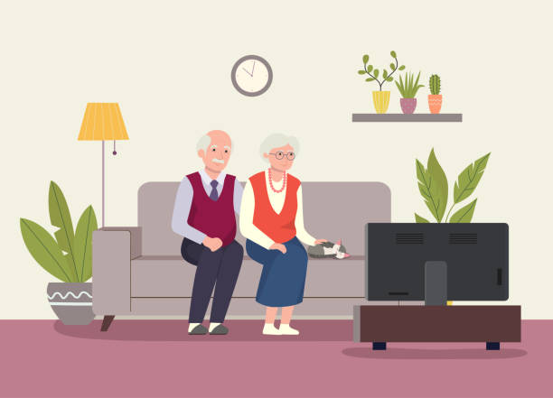 ilustrações de stock, clip art, desenhos animados e ícones de grandmother, grandfather and cat sitting on the couchand watching tv . vector flat illustration - casa reforma