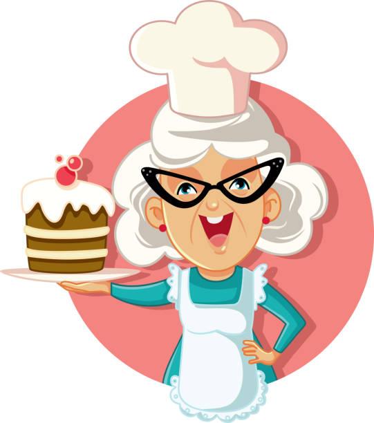 stockillustraties, clipart, cartoons en iconen met grootmoeder bedrijf cake vector cartoon - karikatuur