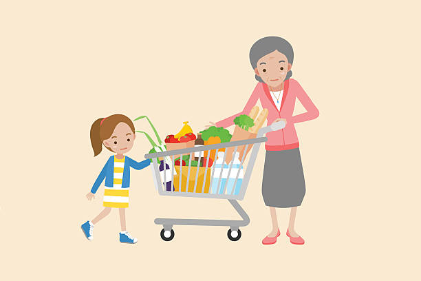 grandmother holding shopping cart with granddaughter - family home stock illustrations