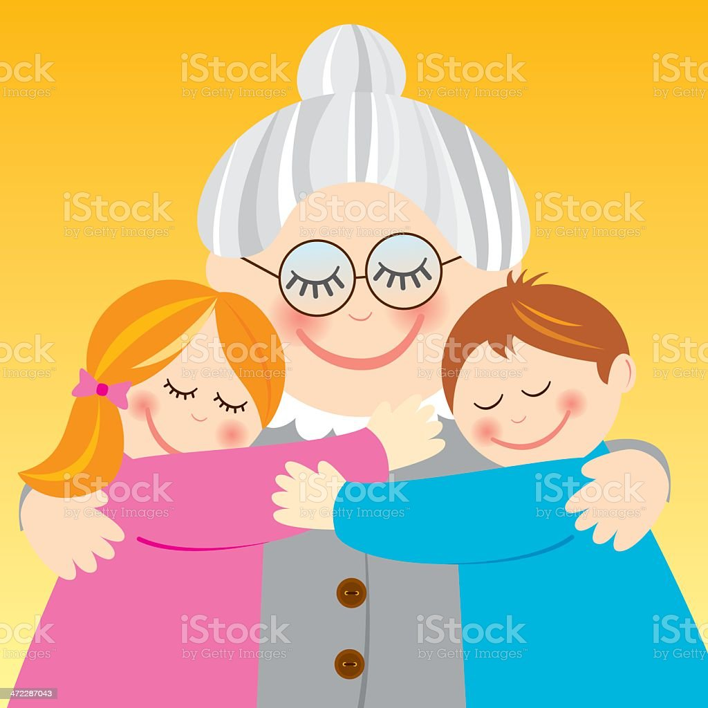 Grandmother hugging her grandchildren vector art illustration
