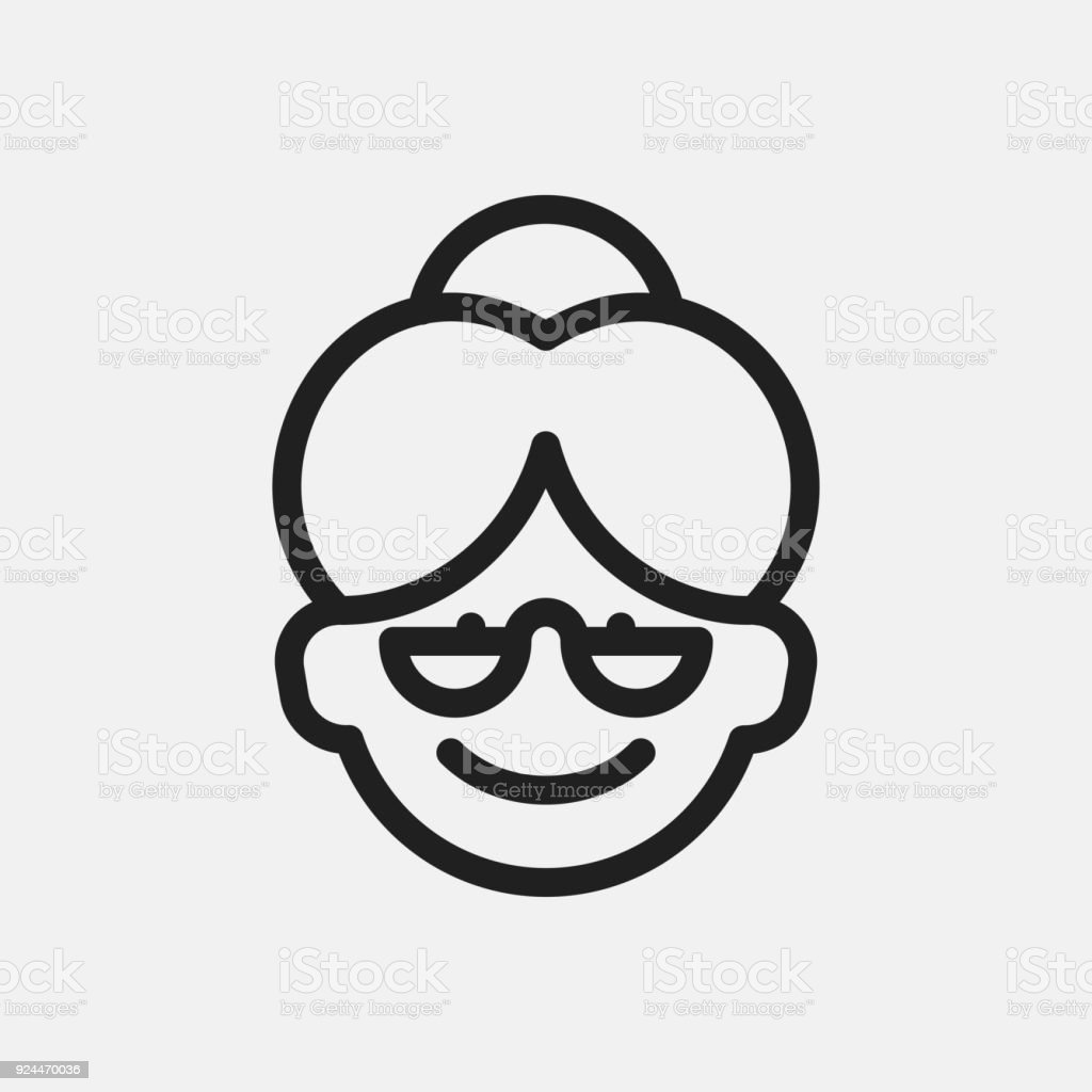 Grandmother icon illustration vector art illustration