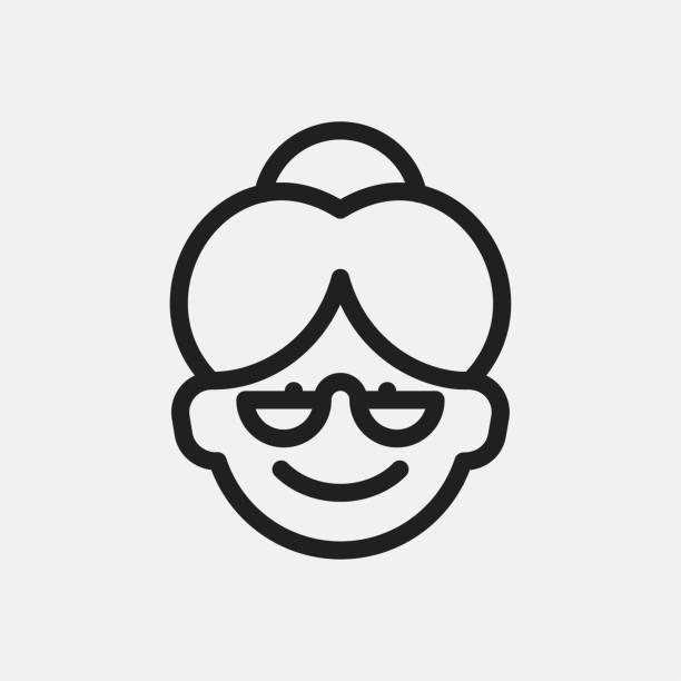 bildbanksillustrationer, clip art samt tecknat material och ikoner med mormor ikon illustration - senior