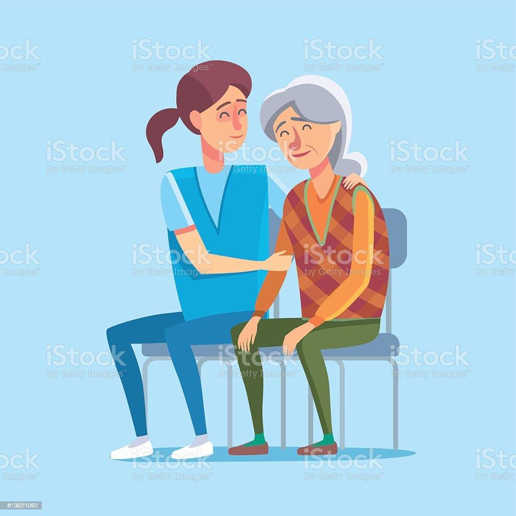 Grandmother in hospital vector art illustration