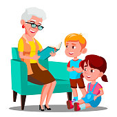 Grandmother Is Reading A Book To Her Grandchildren Vector. Isolated Illustration